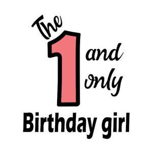 strijkapplicatie verjaardag één birthday girl. Maak een gaaf verjaardagsshirt met een afbeelding of een tekst met onze strijkapplicaties.
